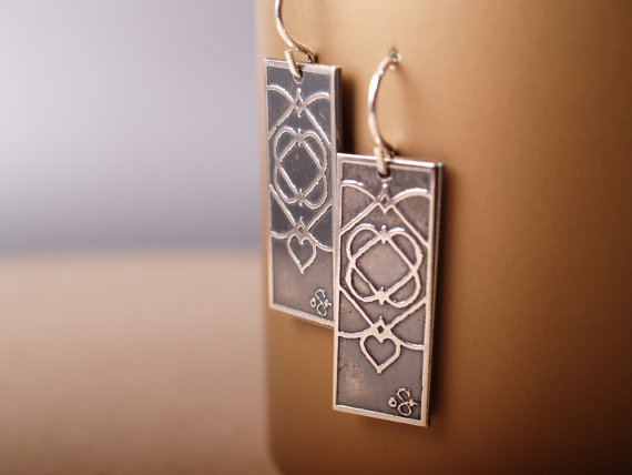 sterling silver rectangle earrings with celtic heart design french hooks hang long