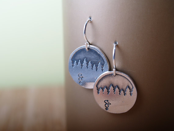 round sterling silver earrings etched with a treeline - french hooks