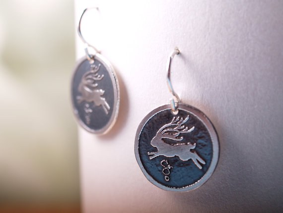 jackelope earrings - sterling etched design - shiny jackelope on darker antiqued field - french hooks