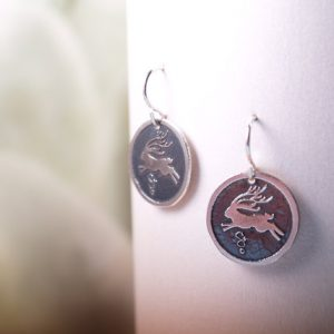 Jackalope sterling etched earrings