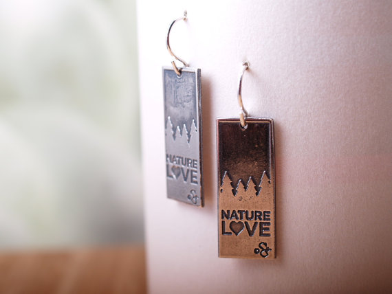 sterling rectangular etched earrings with french hooks - darker top treeline silhouette, Nature Love across the bottom - feature image on white card