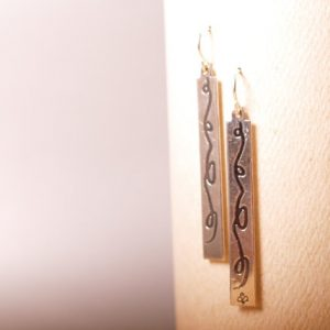 Flowing Ribbon Sterling Etched earrings