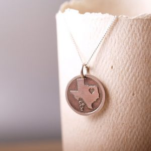 Sterling etched Texas Love pendant and chain