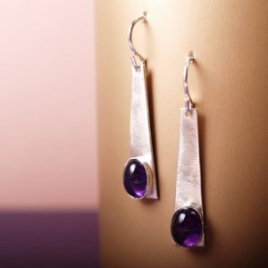 Brushed sterling trapezoid earrings with amethyst cabochons