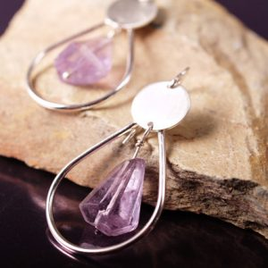 Organic cut ametrine and sterling hoop earrings