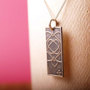 Five of Hearts Sterling Etched pendant and chain