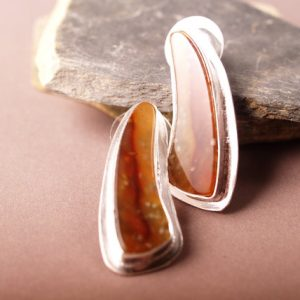 Flame Agate earrings in Sterling