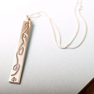 Flowing Ribbon Sterling Etched pendant with sterling chain