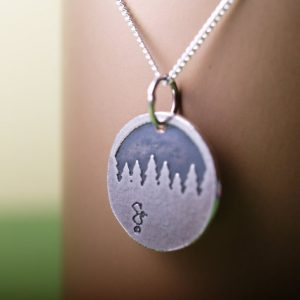 Sterling etched forest treeline pendant and chain