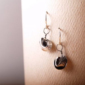 Sterling Fortune Cookie earrings