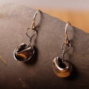 Sterling Fortune Cookie earrings