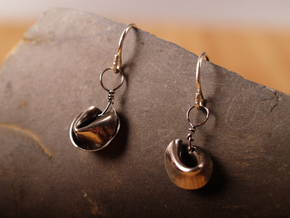 sterling fortune cookie earrings on charcoal stone closeup image
