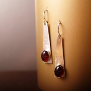Brushed sterling trapezoid earrings with garnet cabochons