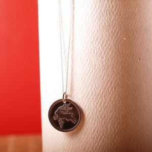 Sterling etched Jackelope pendant and chain