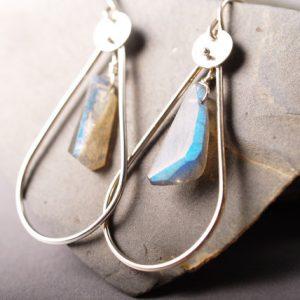 Organic cut labradorite and sterling hoop earrings