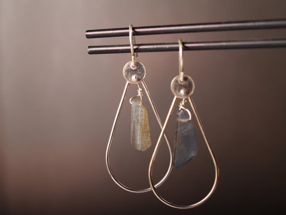 sterling and labradorite hoop earrings on french hooks displayed on earring bar with charcoal background