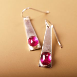 Rock star ruby cabochon in brushed sterling trapezoid earrings