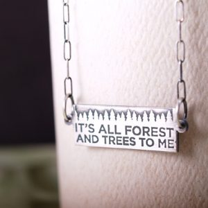 Zen Message Forest Sterling Etched bar necklace