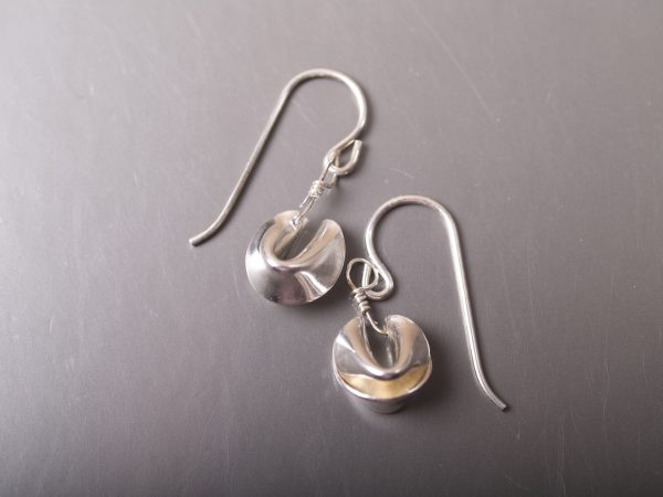 sterling fortune cookie earrings on gunmetal