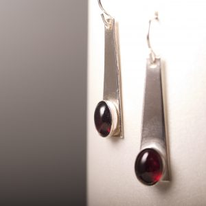 Trapezoid Earrings with Garnet