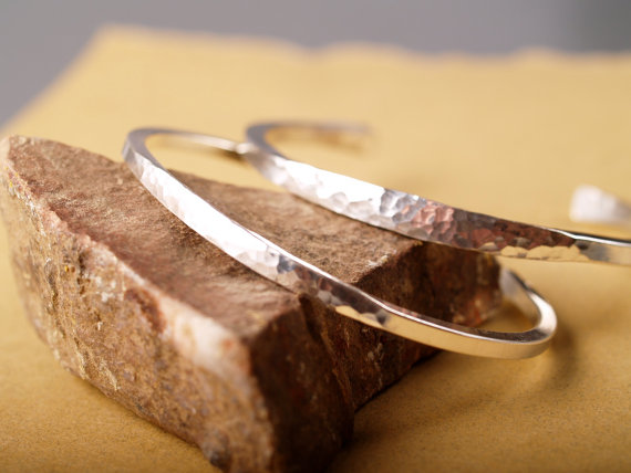 hammered sterling cuff with flared middle and smooth sides feature image