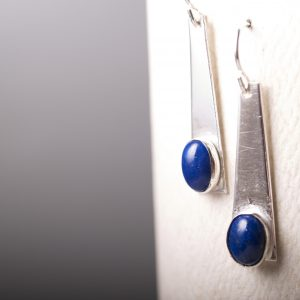 Trapezoid Earrings with Lapis