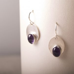 Shiny Sterling Oval earrings with Amethyst cabochons