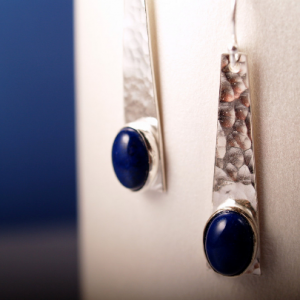 Hammered sterling silver trapezoid earrings with lapis cabochons
