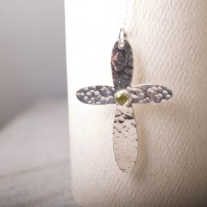 Sterling Hammered rounded cross with peridot
