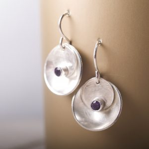 Mirror and Tab Earrings with Faceted Amethyst