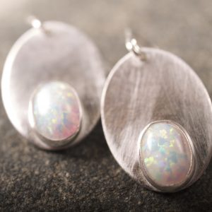 Oval Earrings with Opals