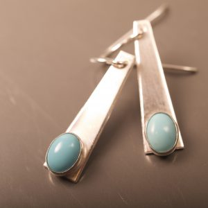 Brushed sterling trapezoid earrings with turquoise cabochons