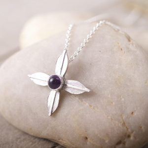 Amethyst Flower Cross pendant