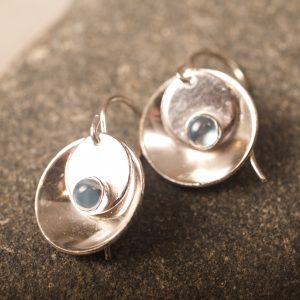 Mirror and Tab Earrings with Blue Topaz
