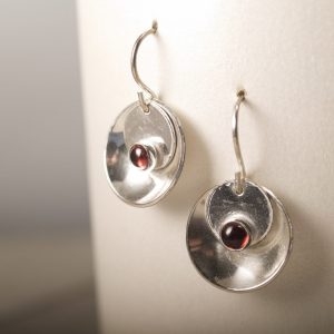 Mirror and Tab Earrings with Garnets