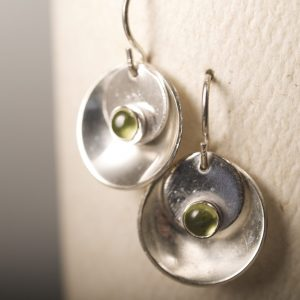 Mirror and Tab Earrings with Peridot