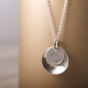 Textured Mirror and Tab Pendant