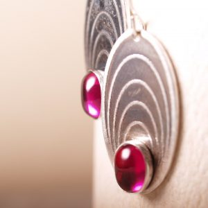 Ripple Earrings with Ruby