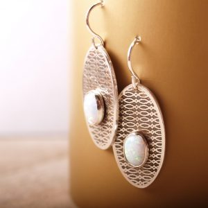 Trellis Earrings with Opals